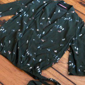 Comptoir Des Cotonniers Green Bird Wrap Blouse XXS